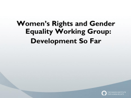 The development of the Women`s Rights and Gender Equality