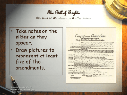 PowerPoint Presentation - The Bill of Rights The First 10