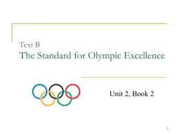 The Standard for Olympic Excellence