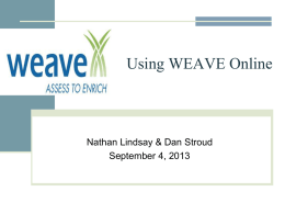 WEAVE Workshop - University of Missouri