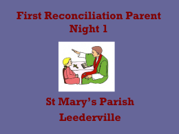 First Reconciliation Parent night PowerPoint 1