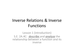 Inverse Relations & Inverse Functions