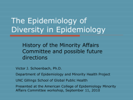 Epidemiology of Diversity in Epidemiology