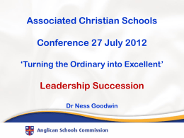 Ness Goodwin Hand Outs 2012 - Associated Christian Schools