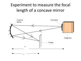 Experiment to measure the focal length of a concave mirror
