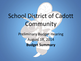 Welcome Back - School District of Cadott Community