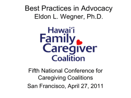 Best Practices in Advocacy - National Alliance for Caregiving