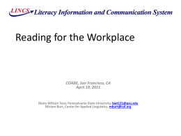 ESL Reading for the Workplace PowerPoint