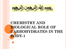 chemistry and biological role of carbohydrates in the body-1