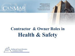 Contractor & Owner Roles in Health & Safety