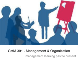 lecture #11 - management learning