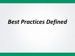 Best Practices Defined and Checklist
