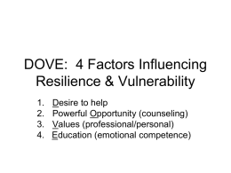 DOVE: 4 Factors Influencing Resilience & Vulnerability