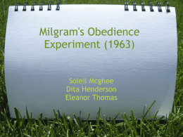 Milgram`s Obedience Experiment (1963)