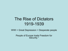 The Rise of Dictators 1919-1939