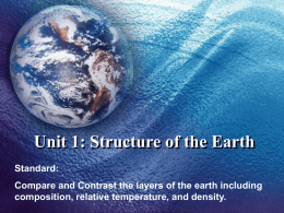 Unit 1: Structure of the Earth