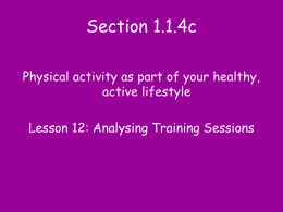 Lesson 12 Analysing Training Sessions