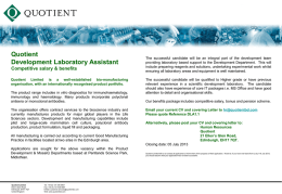 Quotient Development Laboratory Assistant Competitive salary