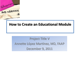 How to develop an Educational Module