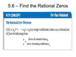 5.6 – Find the Rational Zeros