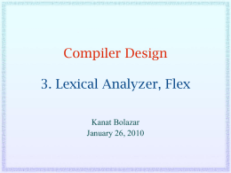 Lexical Analyzer, Flex  - College of Engineering and Computer
