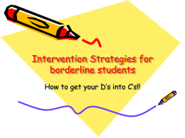 Intervention Strategies for borderline students