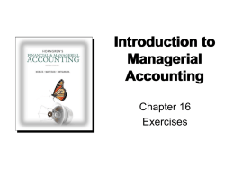 Chapter 16 - Accounting