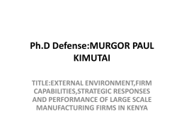 Ph.D Defense:MURGOR PAUL KIMUTAI
