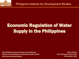 Economic Regulation of Water Supply in the