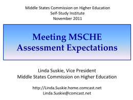 Meeting MSCHE Assessment Expectations
