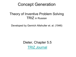 Concept Generation Theory of Inventive Problem Solving TRIZ