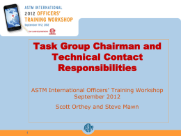 Task Group Chair & Technical Contact Responsibilities