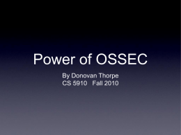 Power of OSSEC, by Donovan Thorpe