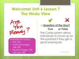 Unit 6, lesson 7 The Hindu View - Mr. Hagelgans