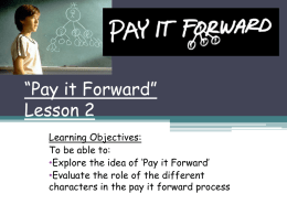 """Pay it Forward"" Lesson 2 - Hertfordshire Grid for Learning"