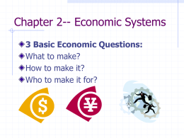 Ch. 2.1 Economic Systems