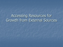 Accessing Resources for Growth from External Sources