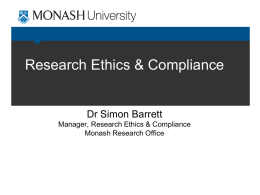 Research Ethics & Compliance Dr Simon Barrett Manager