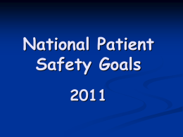 National Patient Safety Goals