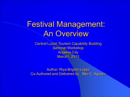 On Festival Planning by Nilo Agustin