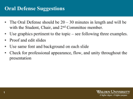 Oral Defense Suggestions - Center for Research Quality