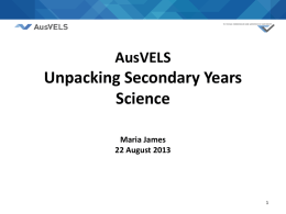 AusVELS Science Secondary Presentation