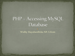 Minggu 5 : PHP – Accessing MySQL Database