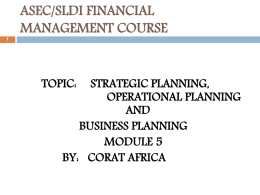 strategic, operational & business planning