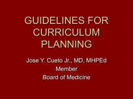 GUIDELINES FOR CURRICULUM PLANNING