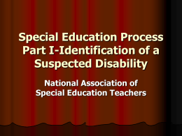 Special Education Process Part I-Identification of a Suspected