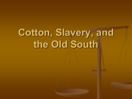 Cotton, Slavery, and the Old South