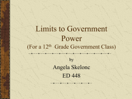 Limits to Government Power