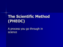 The Scientific Method (PHEOC)