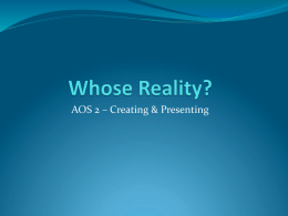 Whose Reality Intro - Year 12 English